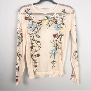 Zara | Peach Sheer Embroidered Top